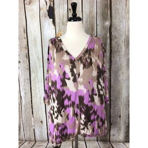 LOGO Lori Goldstein Abstract Print Knit Tunic Top